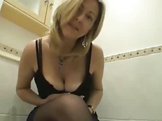 Mature Stockings Toilet