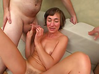 French slut MILF gets fucked by a group be useful to young men