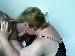 Fat Wife Sucking His Throbbing Cock