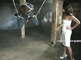Curly Sex Slave Hanged In Ropes Used By Mistress In White Dress In Femdom Bondage Sex Video