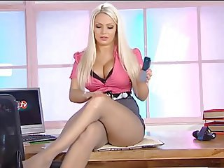 Amazing Big Tits Legs  Office Pantyhose Secretary