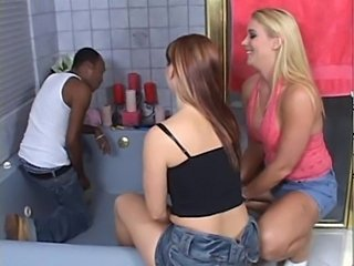 Bathroom Interracial  Pornstar Threesome