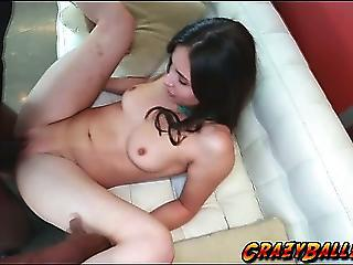 Petite Sexy Babe Pounded By An Enormous Black Monster Cock