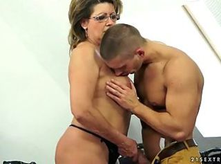 Granny has hot sex with her young lover