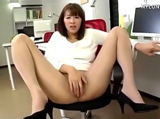 Asian Japanese Masturbating  Office Pantyhose Secretary