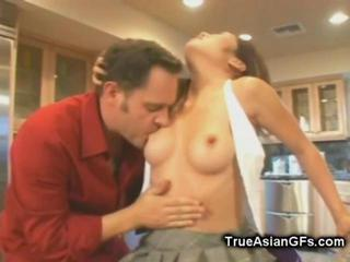 Asian Daddy Interracial Kitchen Old and Young Teen