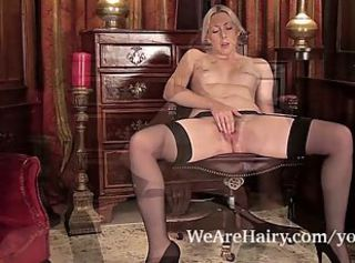 Cute hairy Alison Colins in military uniform