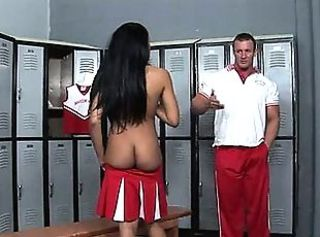 Titty cheerleader fucks with coach