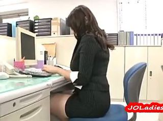 Office Lady Fingering Herself While Sitting On The Desk In The Office
