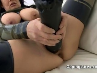 Busty brunette slut gets horny dildo