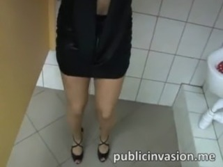 Jumbo boobs sweetheart pulled in public and fucked in the toilet for cash free