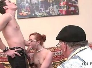 Blowjob Daddy Daughter Family Glasses Old and Young Teen Threesome