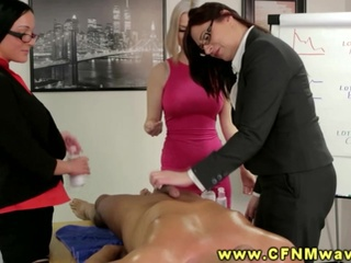 Cfnm Office Cuties Cocksuck Their Co Workers During Their Meeting