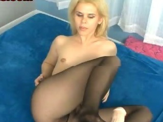 Tiny Tits Pantyhose Foot Job