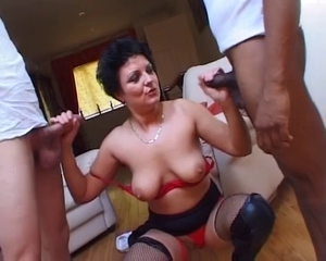 British European Handjob Lingerie   Threesome