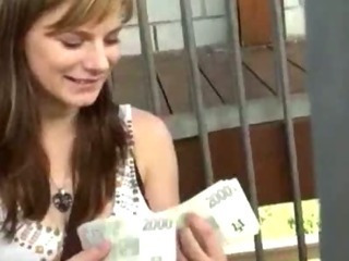 Amazing Amateur Girl Takes Money Added to Rid...