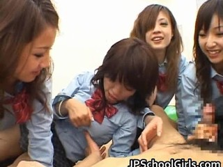 Asian  Handjob Japanese Student Teen Uniform