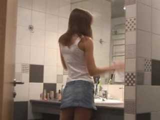 Amateur Bathroom Skirt Teen
