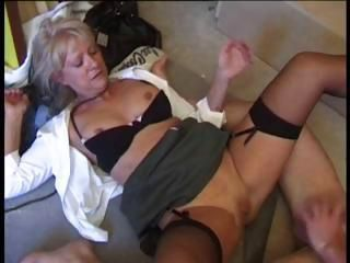 Horny blonde French mature eats cock and then gets both holes nailed