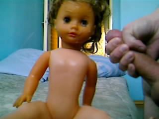 My cum on sis doll
