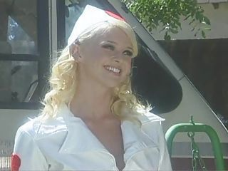 Babe Blonde Nurse Outdoor Pornstar Uniform