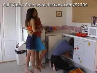 Teen threesome in the kitchen.