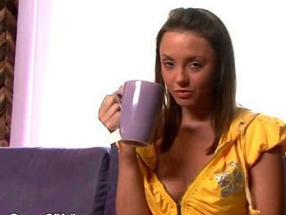 Brunette Takes A Tea And Pussy Break