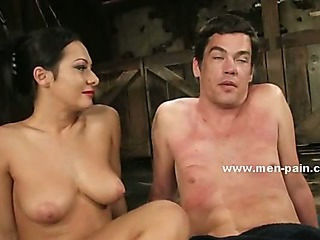 Beautifull pornstar mistress giving a nasty time to man in dominatinon sex video spanking him