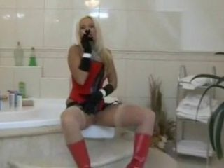 Bathroom Corset Femdom Latex  Smoking