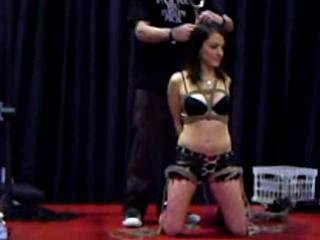 Hot brunette amateur girl - Bondage Demonstration At 2008 Avn In Las Vegas!
