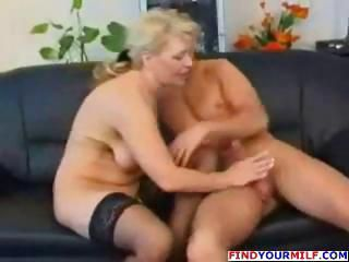 Handjob Mature Mom Old and Young Stockings