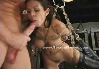 Brunette Beautifull Tot With Large Breasts And A Sexy Round Aggravation Hanged In Rope And Maltreated