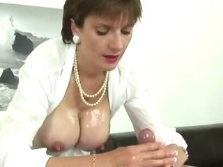 British European Handjob  Nipples Oiled