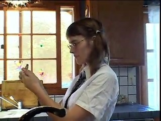 Glasses Kitchen Pigtail Student Teen Uniform