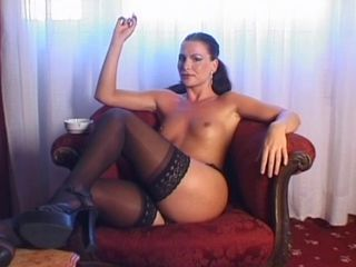 Amazing Legs  Small Tits Smoking Stockings