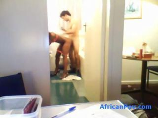 Gorgeous African slut with thick thighs and perfect round booty Nadia is fucked in the bathroom by her hung white buddy she just met. Naida leans on the sink as he fucks her nonstop like if it was the last peace of black pussy he is ever gonna g