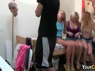 Trio of college sluts kissing and teasing basketball player in his dorm room