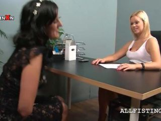 Kinky bossy blondie finger fucks her pussy on the office desk