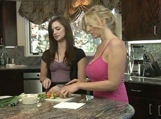 Big Tits Daughter Kitchen Lesbian  Mom Old and Young Teen