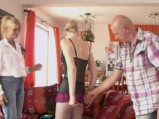 Old Mommy And Dad Seduce And Pounde Their Son's Hottie