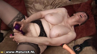 Thick Grandma With Sexy Black Stockings