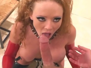 Big Tits Blowjob Fetish Latex  Pornstar Redhead