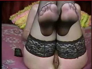 Great MILF feet in black nylon