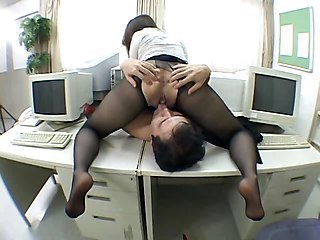 Asian Clothed Licking  Office Pantyhose Secretary