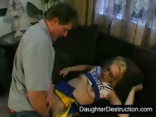 Cheerleader Clothed Daddy Daughter Old and Young Teen Uniform