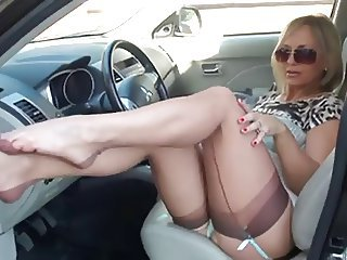 Car Feet Fetish Legs  Stockings