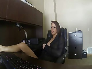 Hottie masturbating in her office