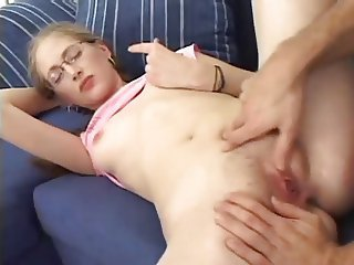 Nerd gets ass fucked w oral creampie
