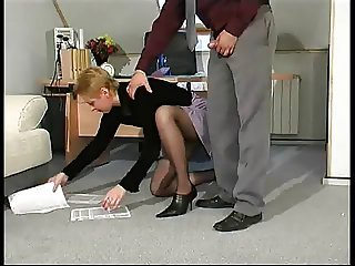 Voluptuous redhead milf fucked with a young guy