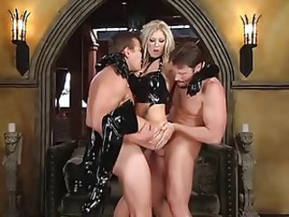 British slut Michelle B in a DP scene in boots